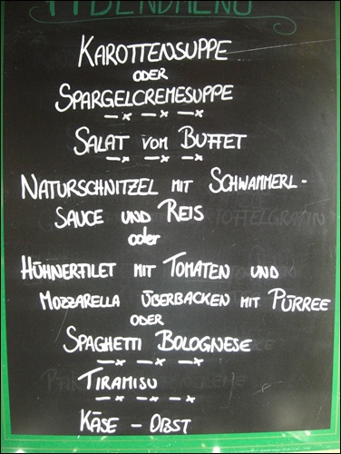 Menükarte Stüdlhütte