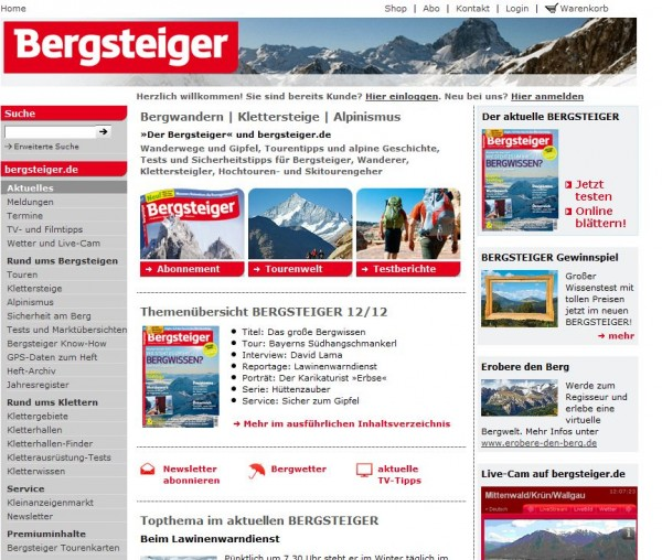 Screenshot Bergsteiger.de