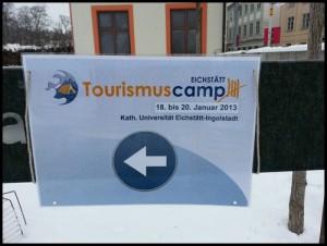 #tc13 Hinweisschild Tourismuscamp in Eichstädt