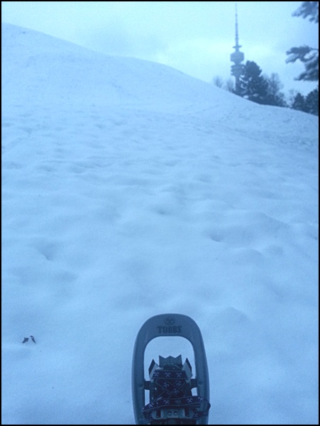 Schneeschuh und Olympiaturm