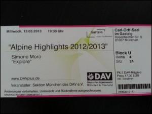 Ticket für Simone Moro Vortrag