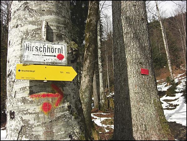 Wanderschilder am Hirschhörnlkopf