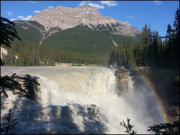 Athabasca Falls mit Abendsonne