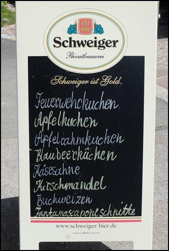 Kuchenkarte im Siglhof