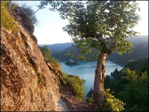 Blick auf den Bleder See von der Burg Slowenien