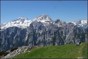 Debela pec Gipfel Blick auf Triglav