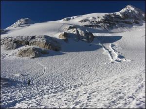 Aufstieg über den Gletscher der Marmolata