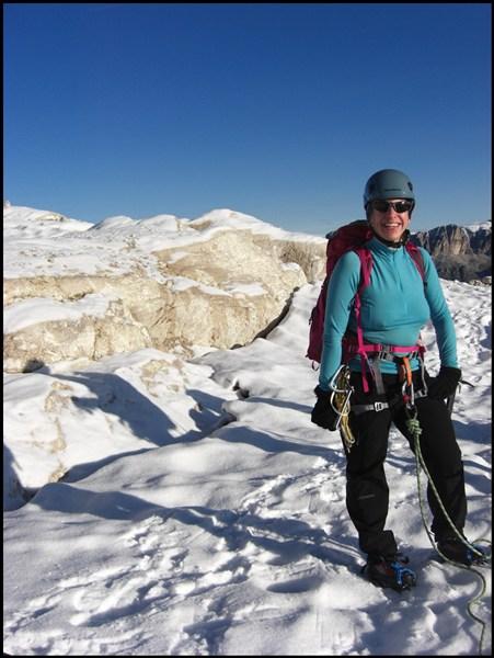 Anseilen und los geht's Richtung Marmolata Gipfel
