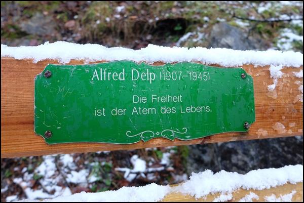 Zitat von Alfred Delp bei der Wanderung auf dem Philosophenweg