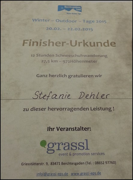 Finisher Urkunde Winter Outdoor Tage
