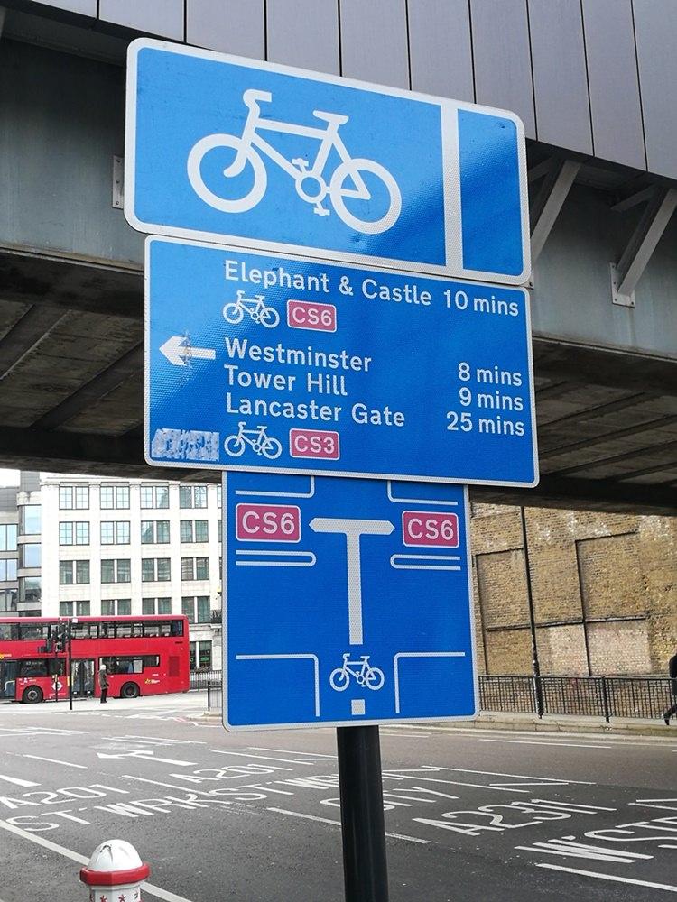 Wegweiser für Radlfahrer in London