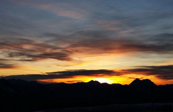 Sonnenuntergang hin dem Sonntagshorn im Chiemgau