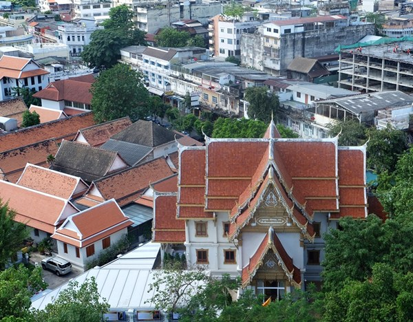 Blick auf den Wat Saket vom Goldenen Berg