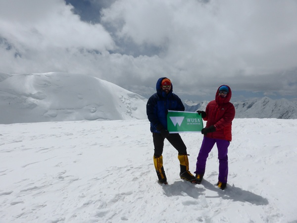 Am Gipfel Pik Razdelnaya 6148m Pamir Gebirge Kirgisistan