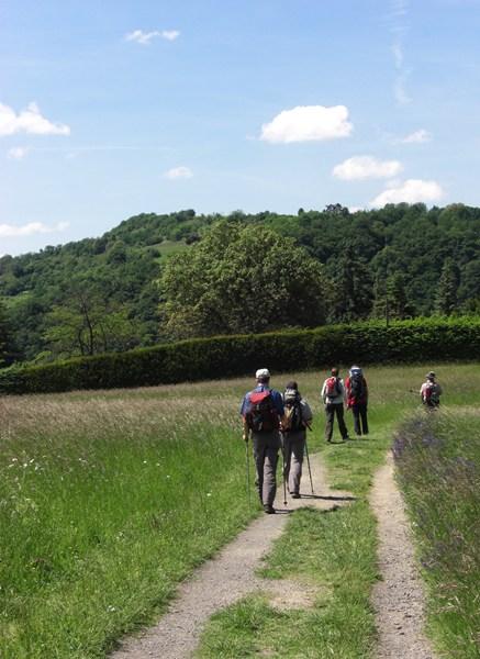 Wanderer am Rheinsteig in Rheinland-Pfalz