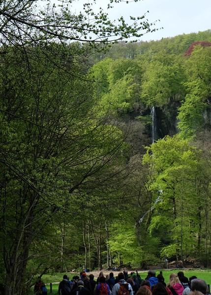 50 Wanderer auf dem Weg zum Wasserfall