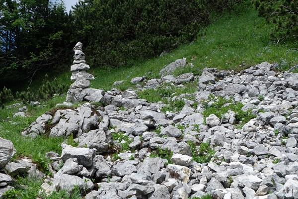Steinmännchen kurz vor dem Latschenkopf