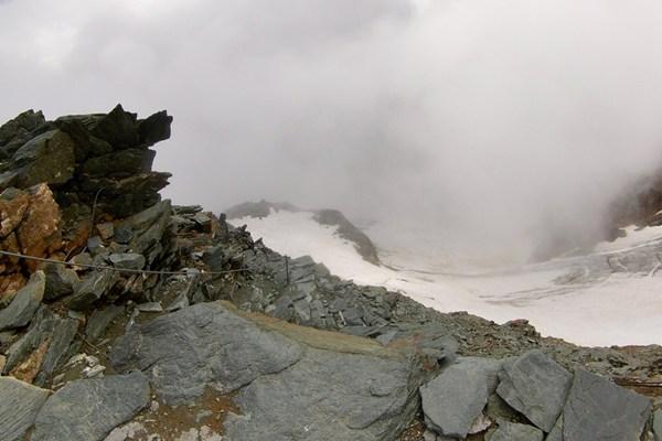 Wo der Klettersteig die Erzherzog-Johann-Hütte erreicht