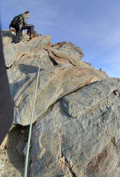 Typische Glockner Felsen auf dem Weg zum Gipfel