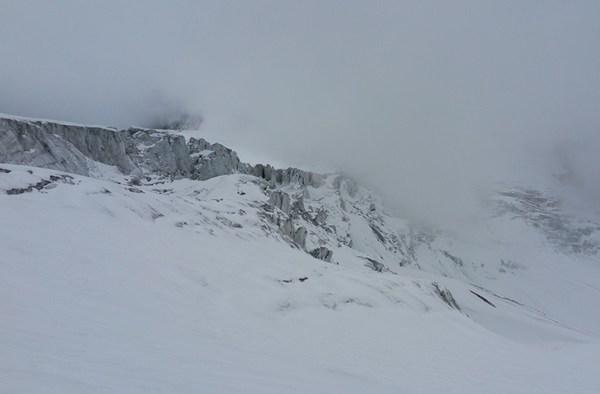 Auf dem Taschachferner im Nebel