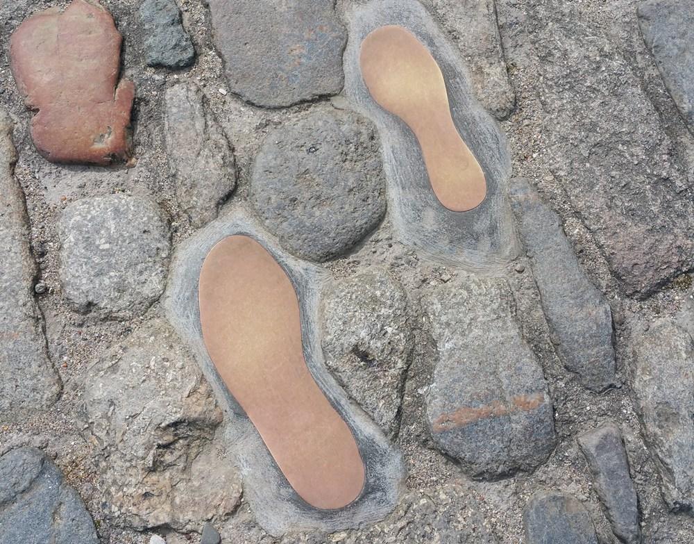 Fußabdrücke der Queen und des Duke in St. Michaels Mount