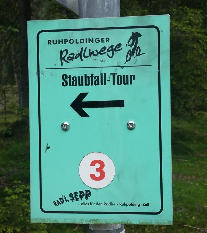 Staubfall Tour - Beschilderung auf dem Ruhpoldinger Teil der Fahrrad Runde
