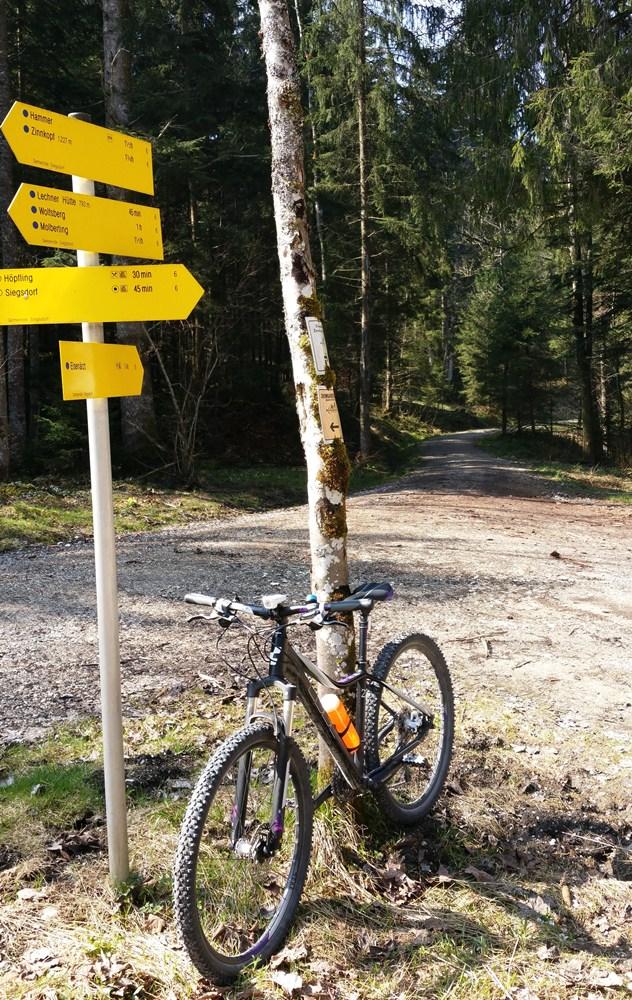 Zinnkopfrunde mit dem Mountainbike - man freut sich über jeden Wegweiser.