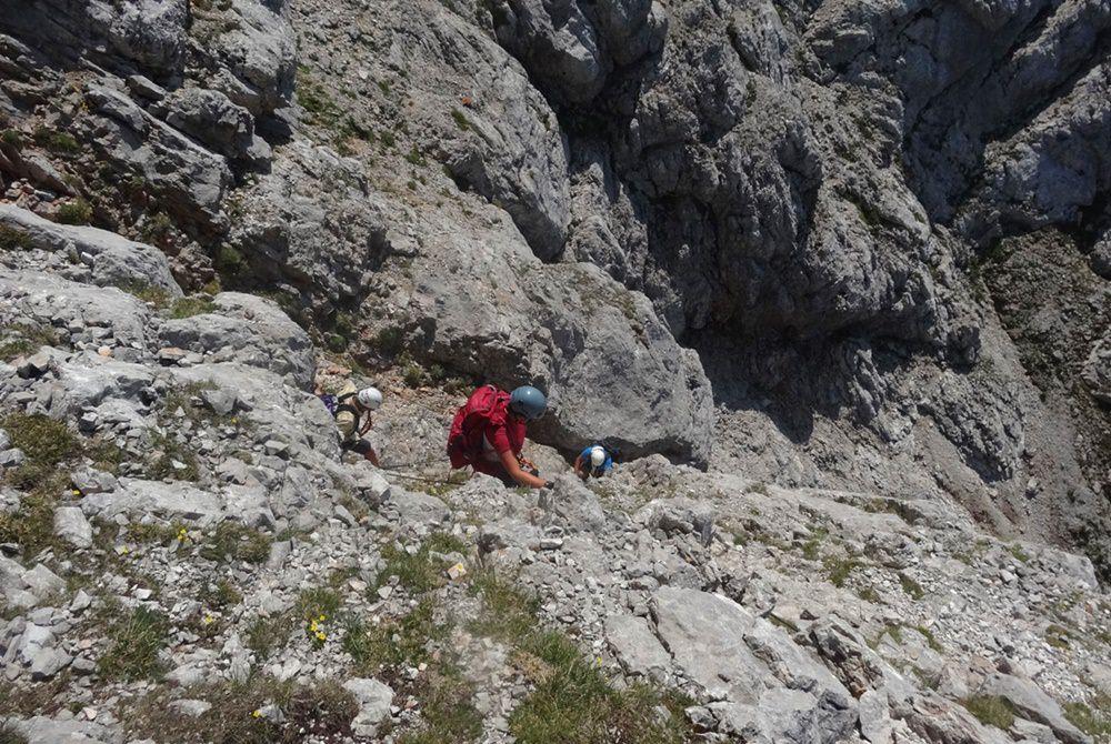 Südwand Klettersteig Persailhorn: steile Schrofen