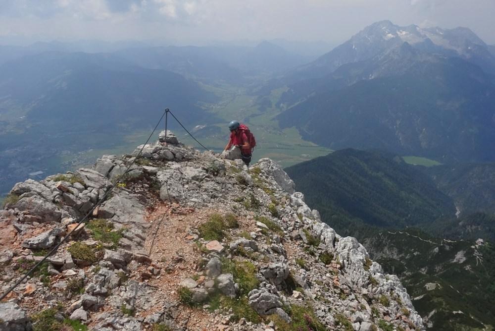 Südwand Kletterrsteig am Persailhorn: das Ende des Klettersteigs