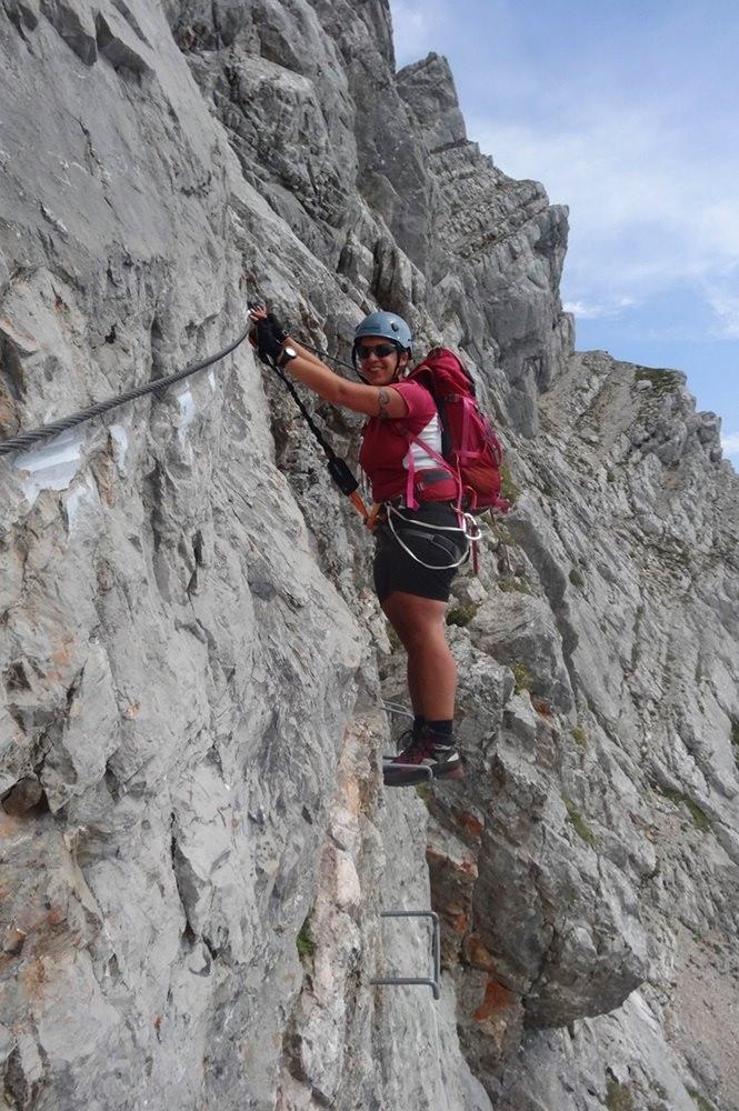 Südwand Klettersteig Persailhorn - Steilwand-Stelle