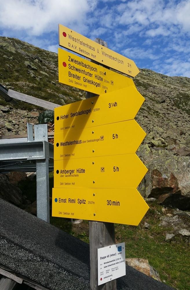 Wegweiser bei der Winnebachseehütte/ Ötztal