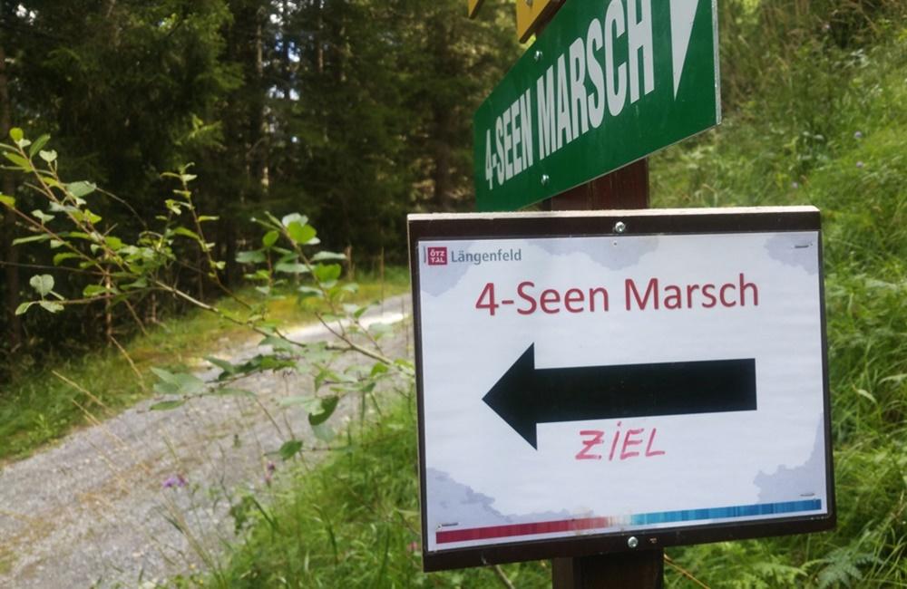 Fast im Ziel - Beschilderung beim 4-Seen-Marsch im Ötztal