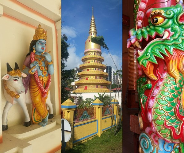 Buntes Tempel-Nebeneinaner in Malaysia