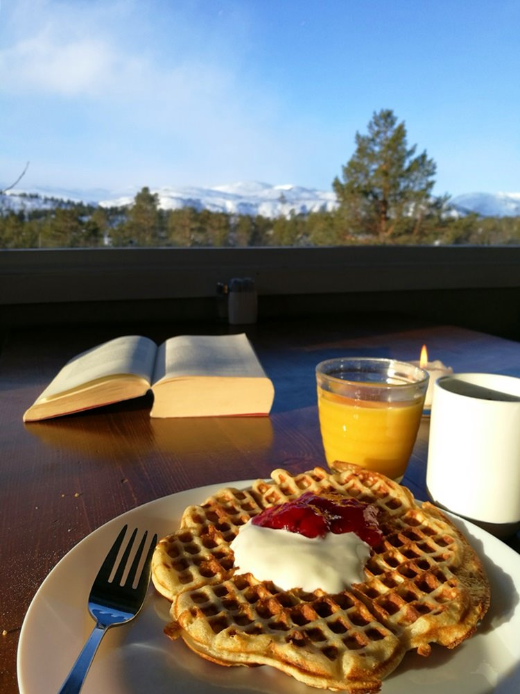 Waffeln zum Frühstück im Hovden Resort in Hovden/ Norwegen