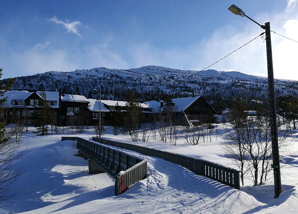 Blick von der Loipe auf das Hovden Resort/ Norwegen
