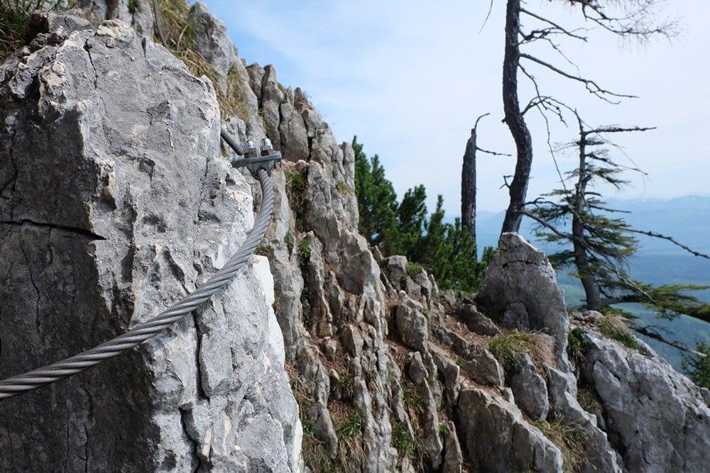 Schlüsselstelle zum Rauhen Kopf: die seilversicherte Stelle/ Berchtesgadener Alpen