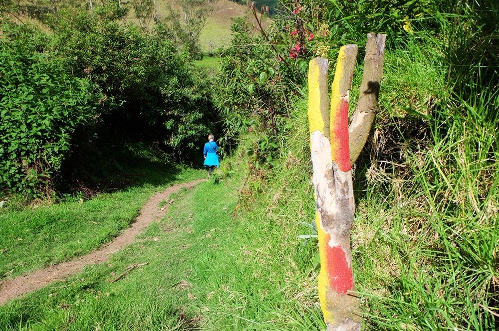 Im Grünen wandern, immer den roten und gelben Markierungen nach - auf dem Quilotoa Loop in Ecuador