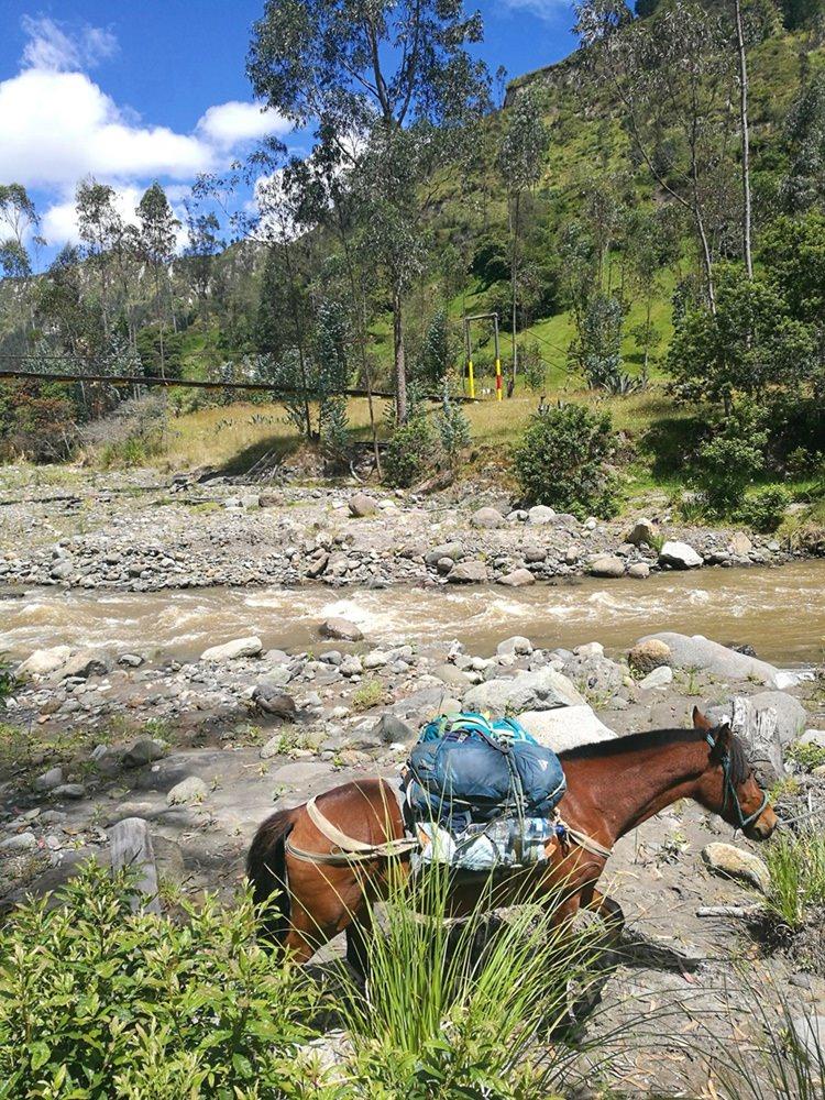 Unser Pferd trägt unseren Rucksack - am Rio Toachi/ Quilotoa Loop in Ecuador