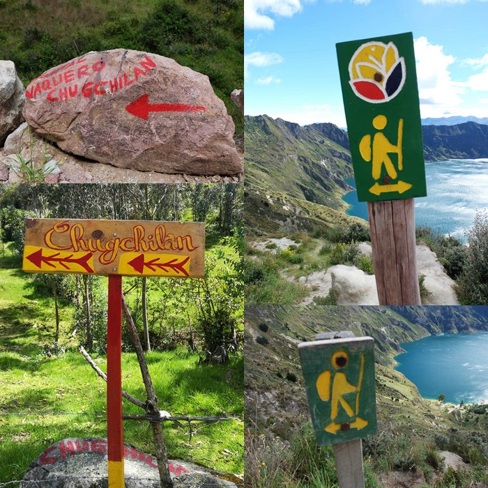 """Beschilderung"" auf dem Quilotoa Loop und auf dem Weg zur Krater Lagune am Vulkan Quilotoa | Ecuador"