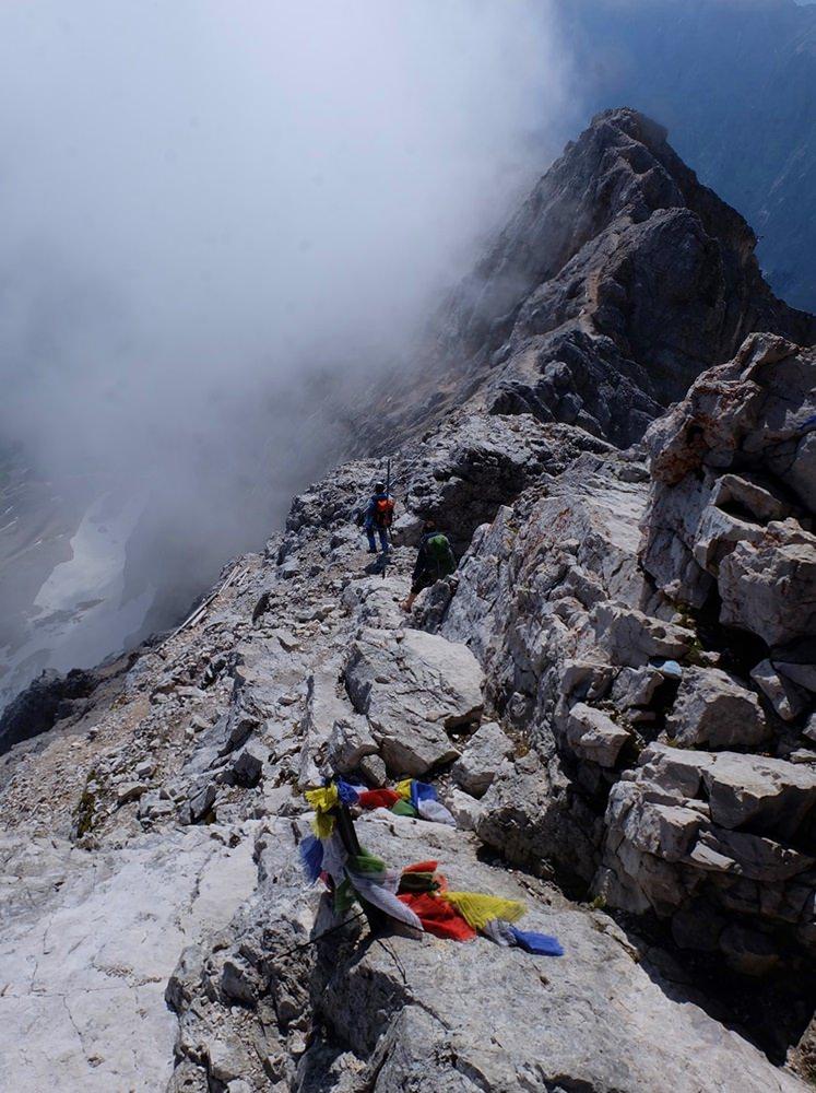 Blick vom Zugspitz-Gipfel zum Jubiläumsgrat