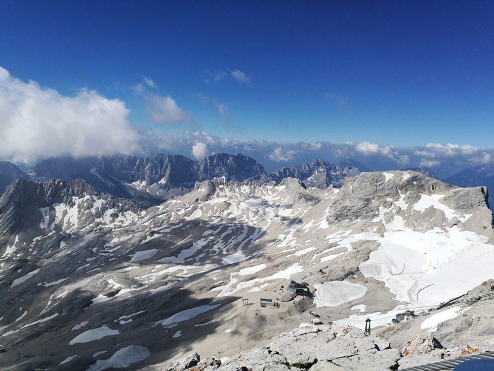 Ausblick nach Süden auf dem Gipfel der Zugspitze