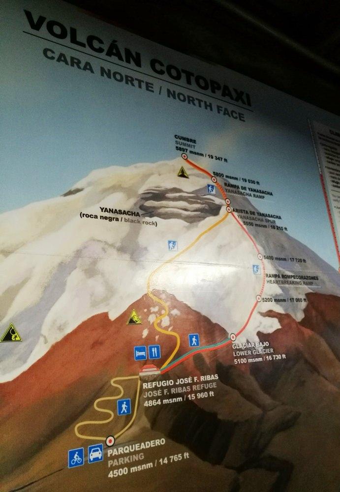 Der Weg zum Gipfel des Cotopaxi, zu finden im Refugio José Rivas | Ecuador