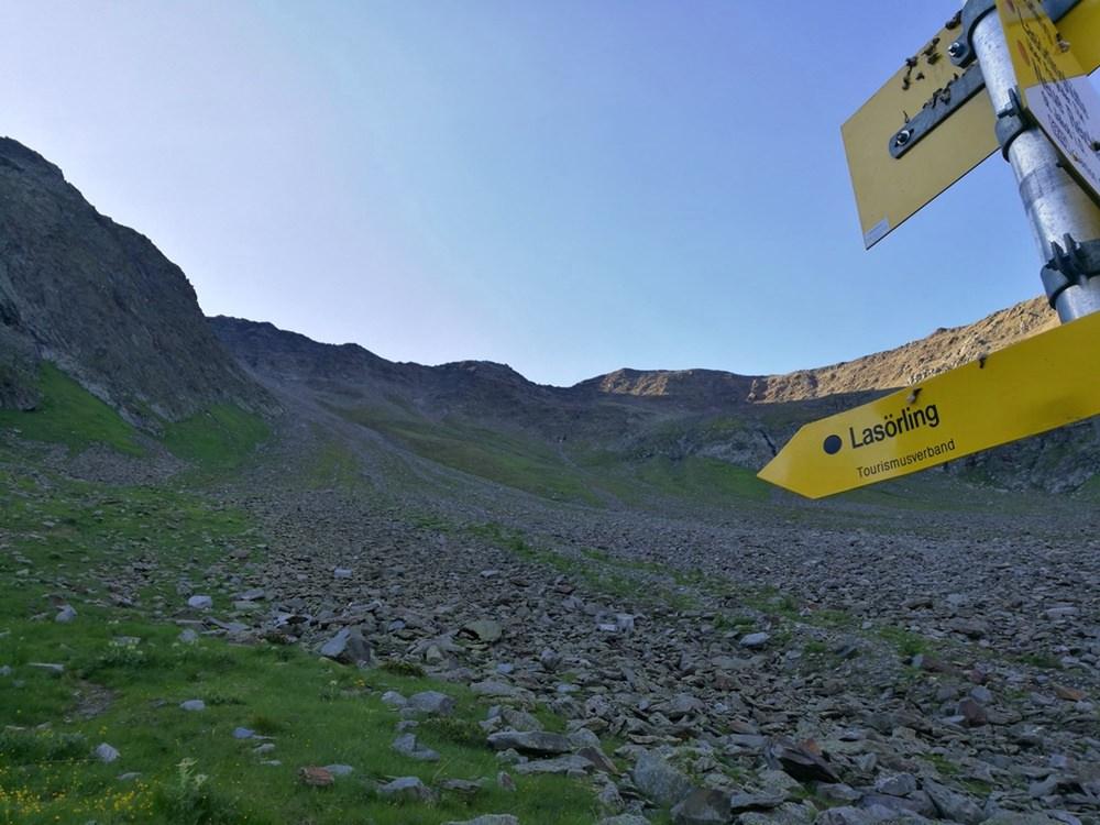 Wegweiser zum Lasörling von Norden, aus dem Lasnitzental. | Osttirol, Österreich