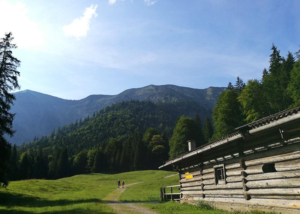 An der xxx Alm sieht man schön den Blauberggrat, der links zur Halserspitz führt. | Tegernseer Tal, Bayern
