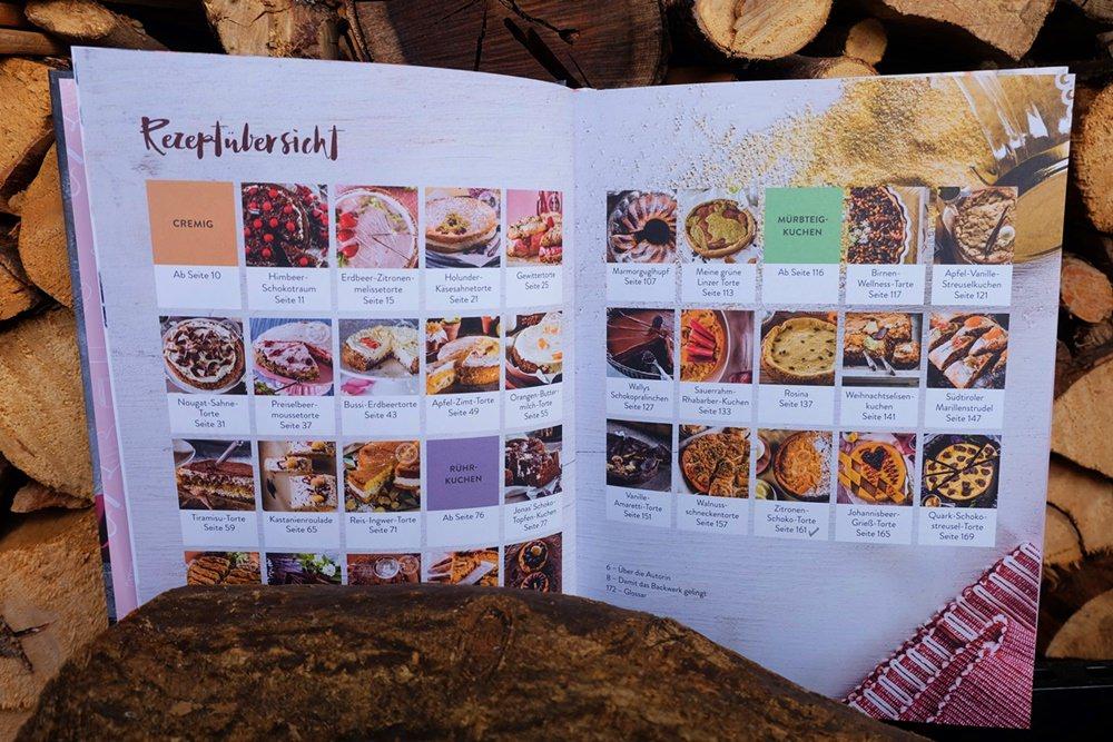 Schön gestaltetes Inhaltsverzeichnis von Wallys Kuchenzauber aus dem Athesia Verlag.