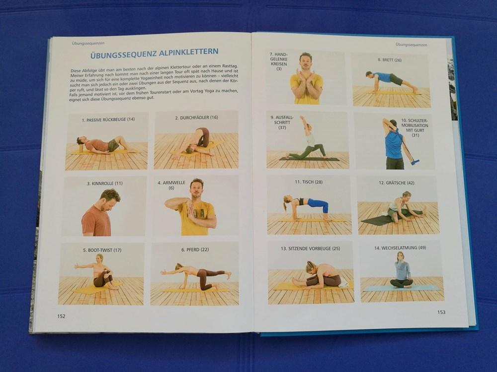 Wie eine Playlist: die Übungssequenz Alpinklettern, die sich aus einzelnen Übungen zusammensetzt, die im Buch detailliert erklärt werden.