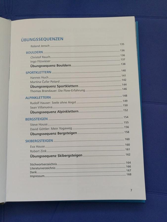 Inhaltsverzeichnis zum Yogabuch von Bergverlag Rother.