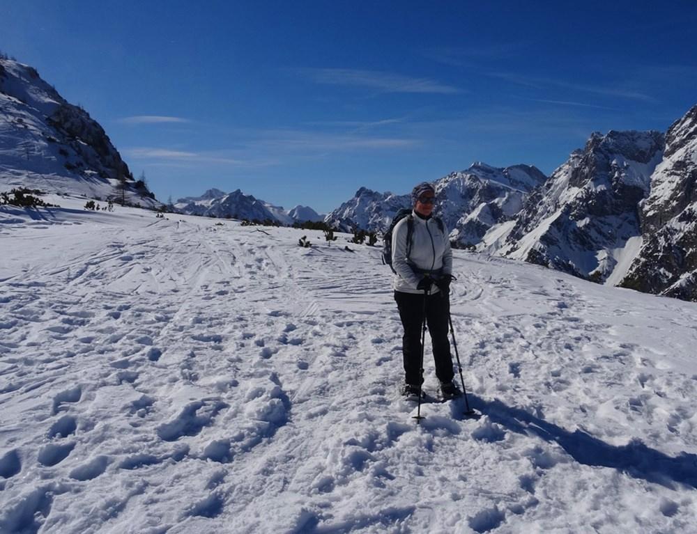 Gipfelfoto Richtung Hochkalter Massiv | Schneeschuhtour Watzmann Gugl