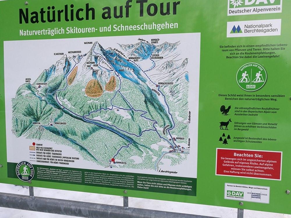 Natürlich auf Tour - Übersichtskarte am Parkplatz Hammerstiel | schneeschuh wandern in Berchtesgaden