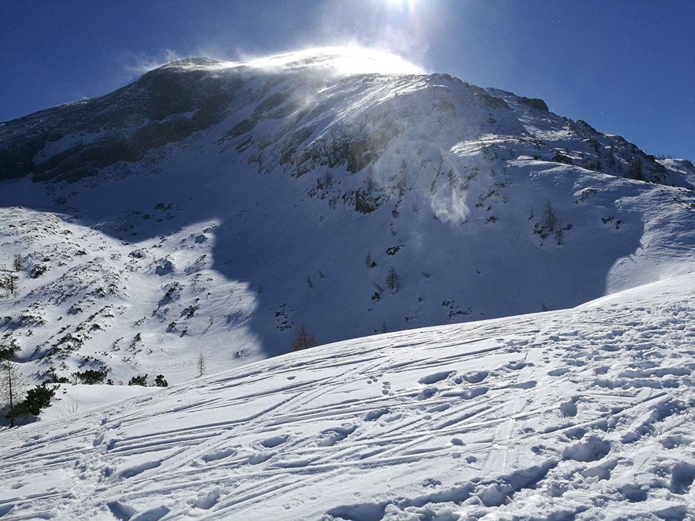 Blick zum Watzmann Hocheck vom Plateau der Gugl aus | Schneeschuhtour Berchtesgaden